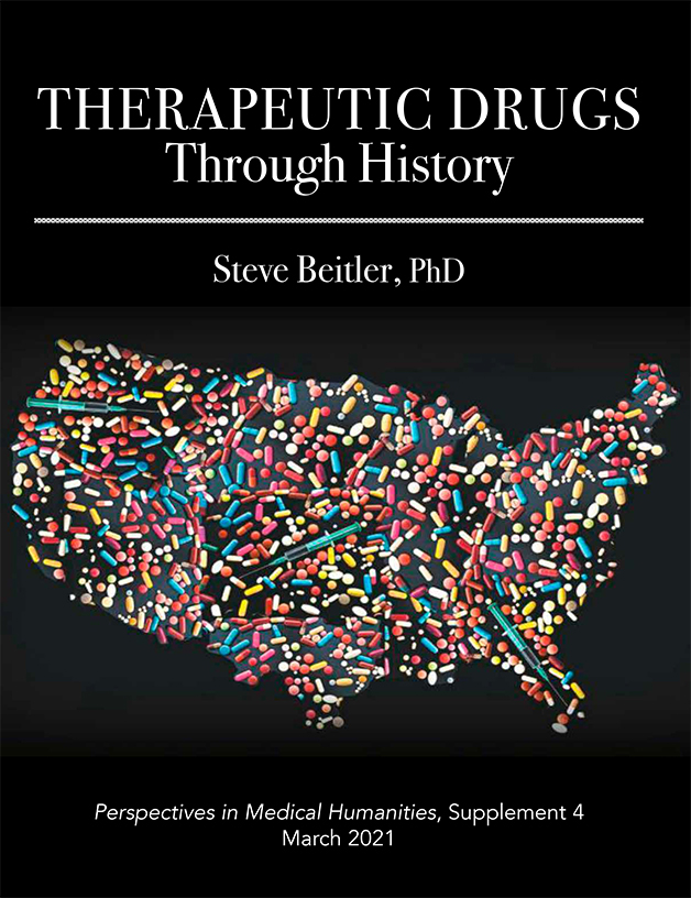 Therapeutic Drugs Through History cover image, the shape of America formed with pills